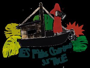 """Collage représentant le spectacle flottant itinérant """"Les p'tites chansons sur toue"""" - Fait par Naira Andrade"""
