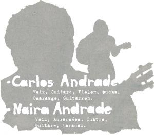 Image représentant les ombres de Carlos et Naira et décrivant les instruments joués dans le disque.